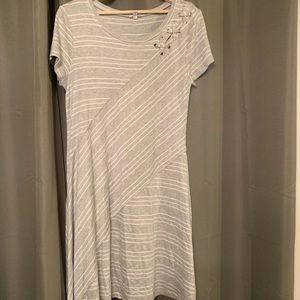 White & Light Gray Casual Dress